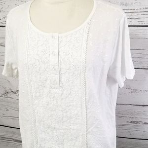 Erika Bright White Embroidered Lace & Crochet Top